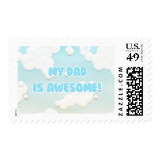 My Dad is Awesome in Blue and White Clouds Postage