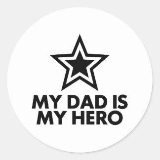 My Dad Is My Hero Classic Round Sticker