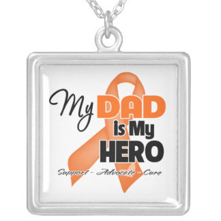 My Dad is My Hero - Leukemia Square Pendant Necklace