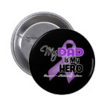 My Dad is My Hero - Purple Ribbon Buttons