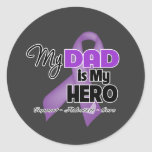 My Dad is My Hero - Purple Ribbon Round Sticker