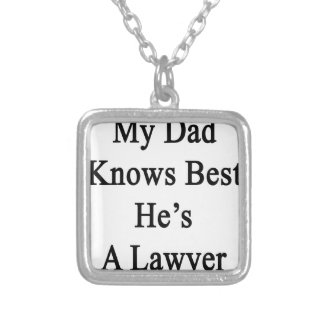 My Dad Knows Best He's A Lawyer Silver Plated Necklace