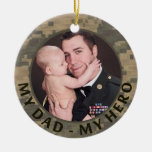 My Dad My Hero Military Custom Soldier Photo Double-Sided Ceramic Round Christmas Ornament