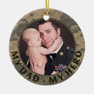 My Dad My Hero Military Photo Customizable Christmas Tree Ornaments