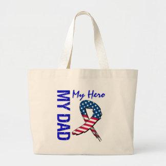 My Dad My Hero Patriotic Grunge Ribbon Large Tote Bag
