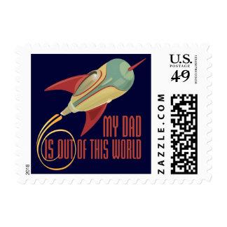 My Dad Rocket Postage Stamp