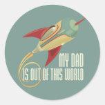My Dad Rocket Round Sticker