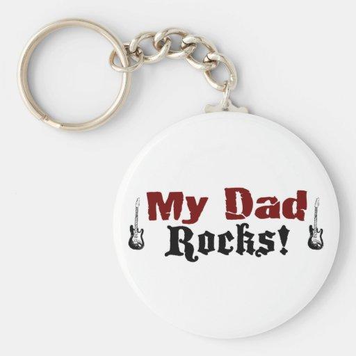 My Dad Rocks Basic Round Button Keychain