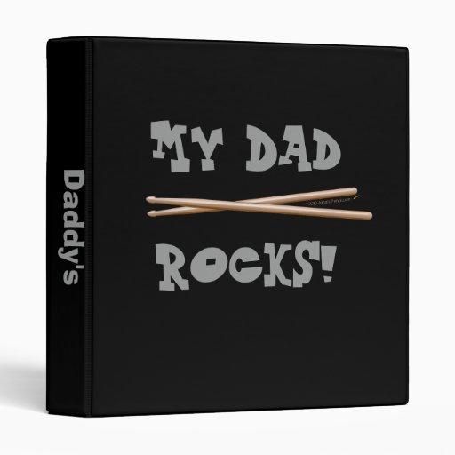 My Dad Rocks Drumsticks for Drummer Father 3 Ring Binder