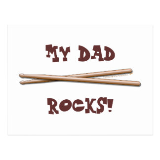 My Dad Rocks Drumsticks for Drummer Father Postcard