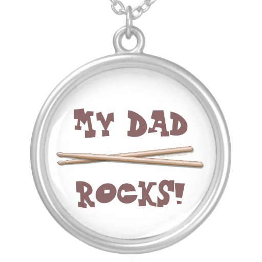 My Dad Rocks Drumsticks for Drummer Father Round Pendant Necklace
