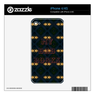 My Dad Rocks Masculine Pattern iPhone 4 Decal