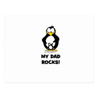 my dad rocks penguin postcard
