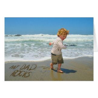 My Dad Rocks! Sand Writing Fun on the Beach Card