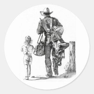 My Dad´s a Cowboy Classic Round Sticker