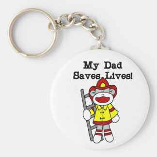 My Dad Saves Lives Firefighter Tshirts and Gifts Keychain