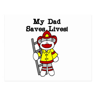 My Dad Saves Lives Firefighter Tshirts and Gifts Postcard