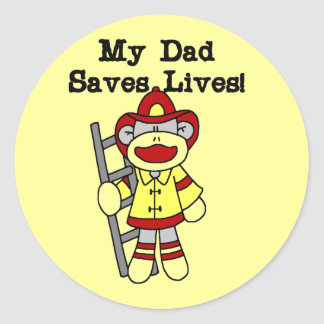 My Dad Saves Lives Firefighter Tshirts and Gifts Classic Round Sticker