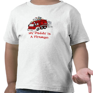 MY DADDY IS A FIREMAN Kids Red Fire truck Tees