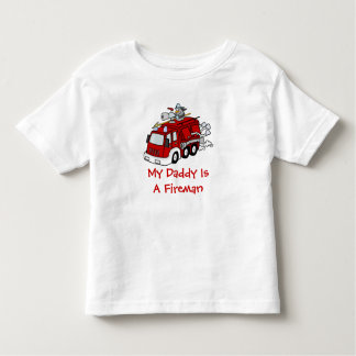 MY DADDY IS A FIREMAN Kids Red Fire truck Tshirt