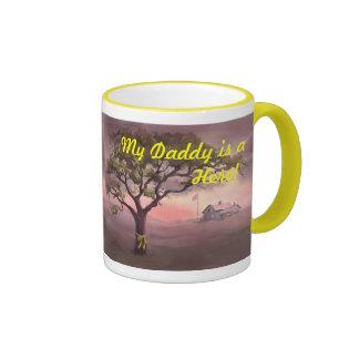 MY DADDY is a HERO!  by SHARON SHARPE Ringer Mug