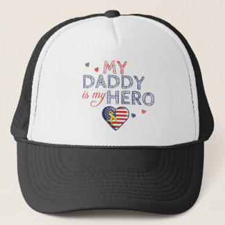 My Daddy is my Hero Patriotic Trucker Hat
