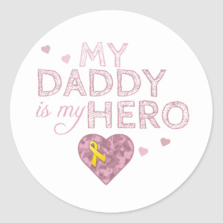 My Daddy is my Hero - Pink Camo - Classic Round Sticker