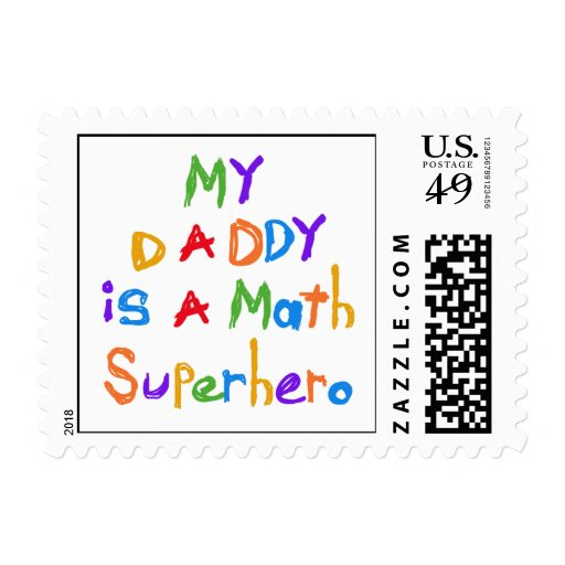 My Daddy Math Superhero T-shirts and Gifts Postage Stamp