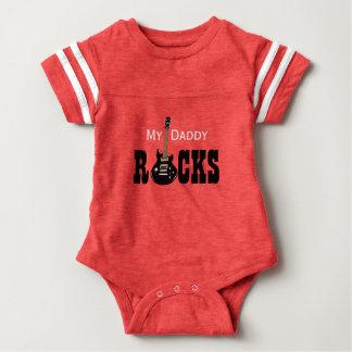 """My Daddy Rocks!"" with electric guitar Baby Bodysuit"