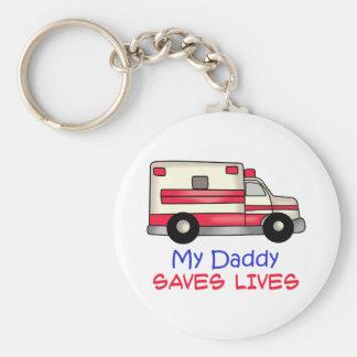 MY DADDY SAVES LIVES BASIC ROUND BUTTON KEYCHAIN