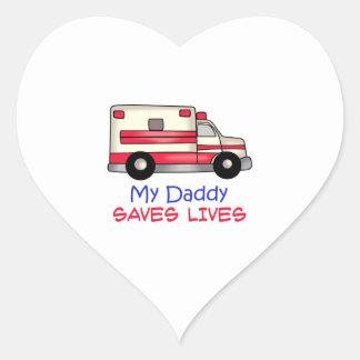 MY DADDY SAVES LIVES HEART STICKER