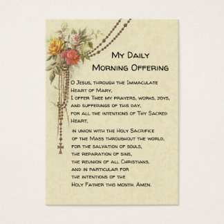 My Daily Morning Offering Prayer Floral Holy Card