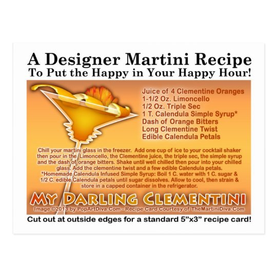 My Darling Clementini Martini Recipe Postcard