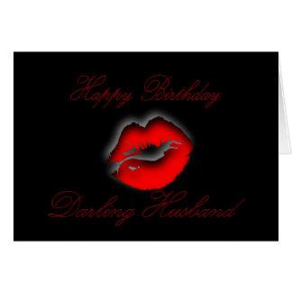 My Darling Husband Happy Birthday kiss lips love Card