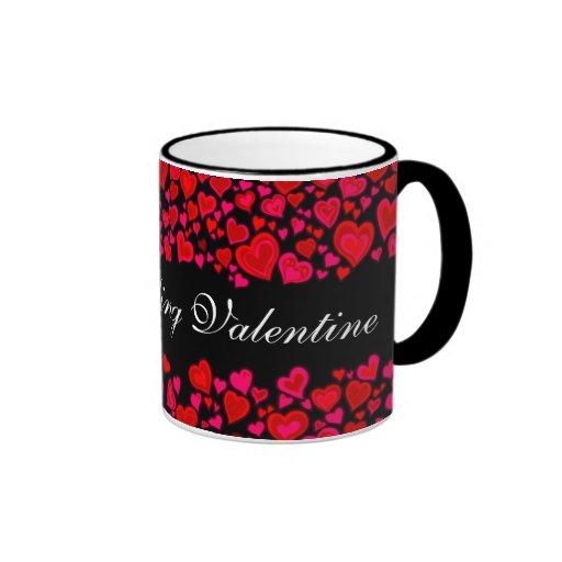 """My Darling Valentine"" hearts red pink black mug"