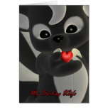 My Darling wife Cute little Skunk with flying hear Greeting Card