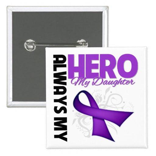My Daughter Always My Hero - Purple Ribbon Pinback Buttons