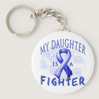 My Daughter Is A Fighter Blue Keychain