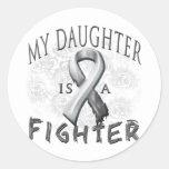 My Daughter Is A Fighter Grey Round Sticker