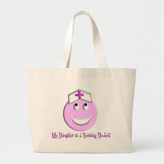 """My Daughter is a Nursing Student"" Big Pink Smiley Jumbo Tote Bag"