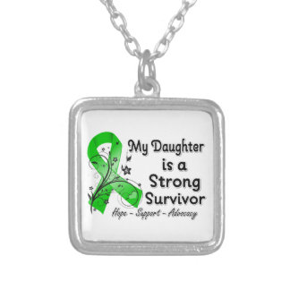 My Daughter is a Strong Survivor Green Ribbon Square Pendant Necklace