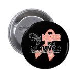 My Daughter is a Survivor - Uterine Cancer Pinback Button