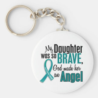 My Daughter Is An Angel 1 Ovarian Cancer Keychain