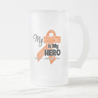 My Daughter is My Hero - Leukemia 16 Oz Frosted Glass Beer Mug
