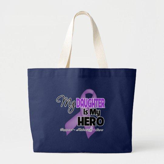 My Daughter is My Hero - Purple Ribbon Large Tote Bag