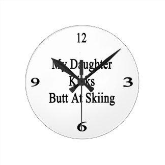 My Daughter Kicks Butt At Skiing Round Wall Clocks