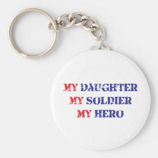 My daughter, my soldier, my hero keychain