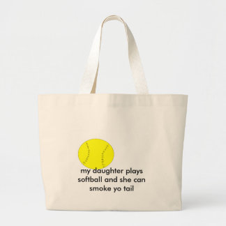 , my daughter plays softball and she can... large tote bag