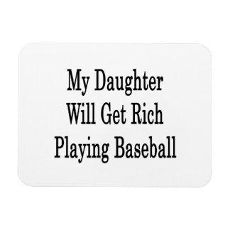 My Daughter Will Get Rich Playing Baseball Rectangular Photo Magnet