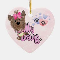 pets, dogs, puppy, yorkshire, yorkie, breeder, pink, heart, love, faith, Ornament with custom graphic design